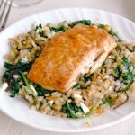 Orange Maple Salmon Farro Kale Salad | Simply Nourished Home