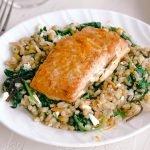 Orange Maple Salmon Farro Kale Salad | Simply Nourished Home