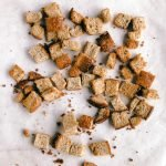 Whole Wheat Croutons on Baking Sheet
