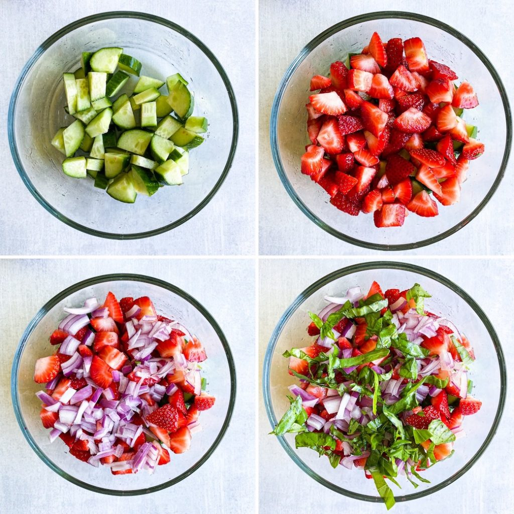4 pictures in a grid. Top left diced cucumbers in bowl. Top right, diced strawberries added. Bottom left, diced onions added. Bottom Right sliced basil added.