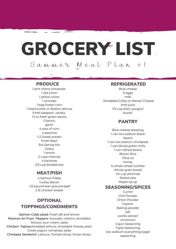 summer heart healthy meal plan grocery list