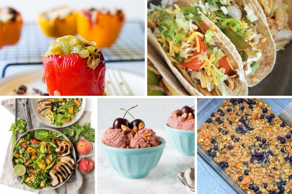 Top left to bottom right: Aiir fryer stuffed peppers, tacos, salad, cherry ice cream, blueberry sweet potato baked oatmeal