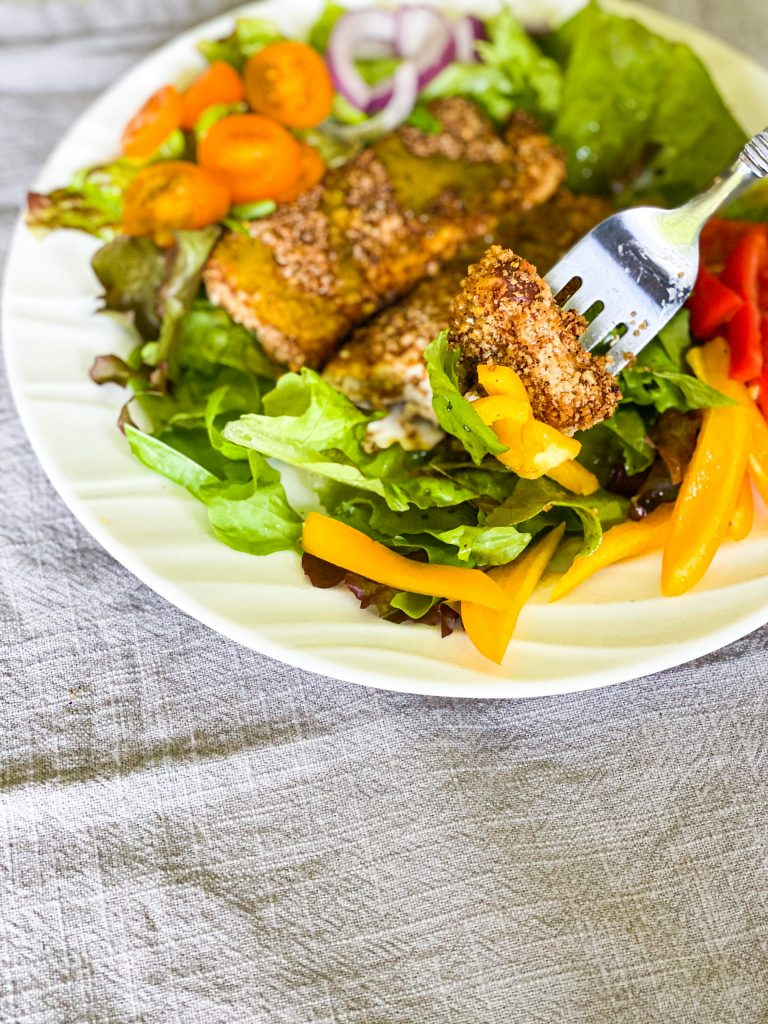 tofu tenders on a salad.