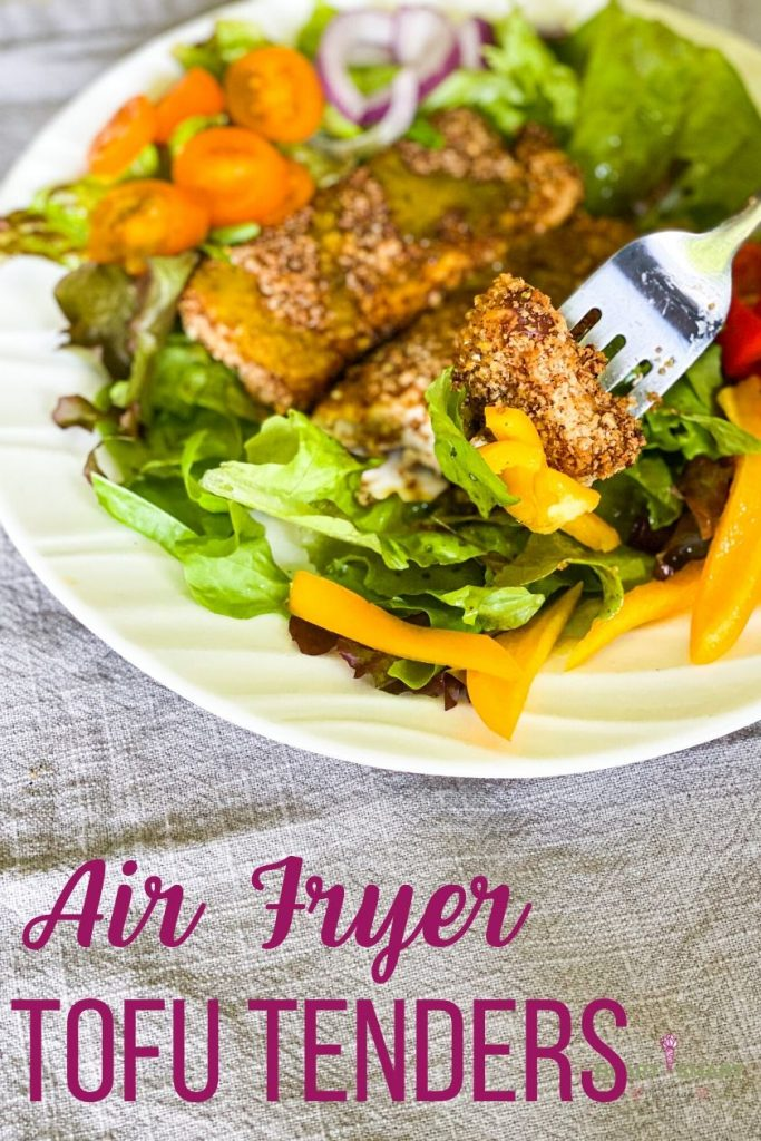 air fryer tofu tenders written on the bottom and a salad with tofu on top.